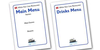 The Titanic Editable Restaurant Menus - The Titanic, resources, menu, restaurant, editable, Iceberg, Ship, Liner, White Star Line, disaster, New York, sink, lifeboat, boat, captain, survivors