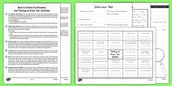 Back to School Icebreakers and Getting to Know You Activity Pack