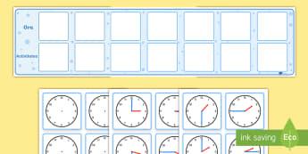 Orar vizual cu ceasuri analogice - timpul, unități de măsură, activități, română, activitate, citirea ceasului,Romanian
