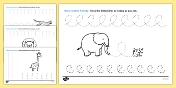 Safari Themed Pencil Control Activity Sheets- safari, on safari, safari pencil control worksheets, safari worksheets, safari letter writing worksheets