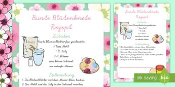 Bunte Blütenknete Rezept - spring, flower, recipe, play dough, arts and crafts, Frühling, bunt, Rezept, Knete,German