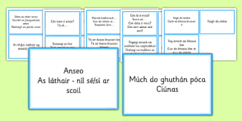 Everyday Phrases for Teachers Prompt Cards Gaeilge - Irish, Gaeilge, neamhfhoirmiúil, incidental, directions, commands, display, cards