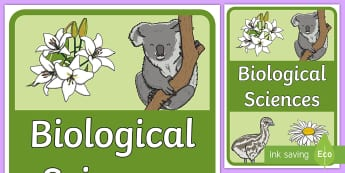 Biological Sciences Book Cover - Australian Curriculum, biology, book label, cover page, title page, science journal, Australia