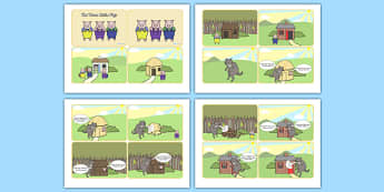 The Three Little Pigs Story Sequencing (4 per A4 with Speech Bubbles) - Three little pigs, sequencing, traditional tales, tale, fairy tale, pigs, wolf, straw house, wood house, brick house, huff and puff, chinny chin chin