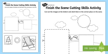Seaside Finish the Scene Cutting Skills Activity Sheet Pack - seaside, worksheet
