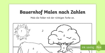 Bauernhof Malen nach Zahlen - Farm Colour by Numbers - colouring, colouring activities, count, numbes, colering, colourby numbers,
