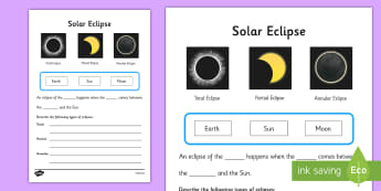Solar Eclipse Worksheet - worksheets, worksheet, work sheet, sheets, solar eclipse, solar eclipse activity, phases of the moon, moon phases, space, the sun, the moon, activity, writing frame, filling in, writing activity
