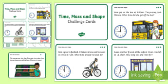 Time, Mass and Shape Problem Solving Challenge Cards - time, mass, shape, problem solve, word problem, Australia