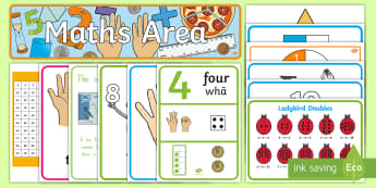 Maths Area - Knowledge Stages 1 to 3 Display Pack - Maths, Display, half, halves, money, coins, numbers, skip count, numberline, number line, notes, dis