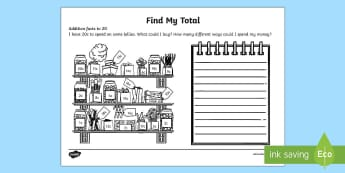 Find My Total (Addition Facts to 20) Activity Sheet - kindy, kindergarten, year 1, addition, number facts, using money, counting.,Australia, place value,