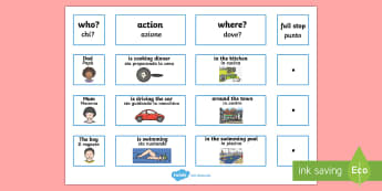 Everyday Sentence Building Cards English/Italian - Everyday Sentence Building Cards EAL - sentence, building, cards, sentance, senetnce building, seten