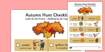 Autumn Hunt Checklist Romanian Translation - romanian, autumn, hunt, checklist