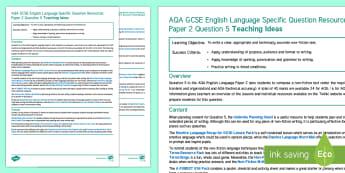 AQA English Language Paper 2 Question 5 Teaching Ideas - AQA GCSE Specific Question Resources, structure, language, AQA GCSE English Language Paper 2 Questio