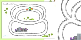 Train Track Pencil Control Sheet - train, transport, motor skills
