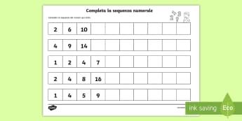 Ripeti la sequenza dei numeri Attività - sequenze, sequenza, numerali, dei, numeri, completa, esercizio, matematica, italiano, italian, mater
