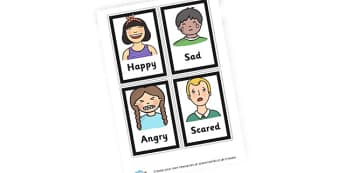 Feelings Faces Cards - My Emotions Literacy Primary Resources, emotion, feeling, happy