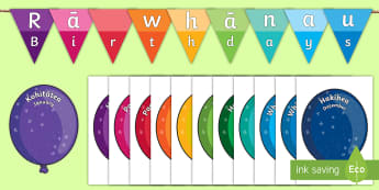 Balloon Themed Birthday Display Pack - balloons, birthdays, Te Reo Māori