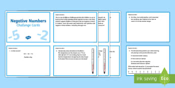 UKS2 Negative Numbers Challenge Cards - KS2, Maths, number, negative, forwards, backwards, zero, interpret, calculate, context, reason, posi