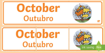 October Display Banner English/Portuguese - October Display Banner - october, display banner, display, banner, months, year, abnner, eal