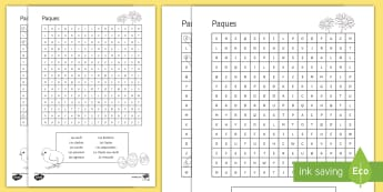 Easter Word Search French - French, Easter, word search, Pâques, vocabulary, vocabulaire, sweets, chocolat.