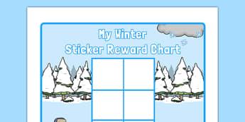 Winter Themed 0-10 Sticker Stamp Reward Chart - winter, themed, 0-10, sticker, stamp, reward chart