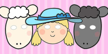 Little Bo Peep Role Play Masks - Little Bo Peep, nursery rhyme, rhyme, rhyming, nursery rhyme story, nursery rhymes, Little Bo Peep resources, sheep, role play mask, role play