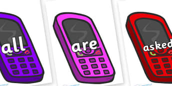 Tricky Words on Mobiles - Tricky words, DfES Letters and Sounds, Letters and sounds, display, words