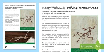 Biology Week Terrifying Pterosaur News Article - Biology Week, pterosaur, dinosaur, news, scientific discovery, how science works, scientific enquiry