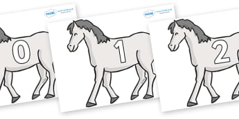 Numbers 0-100 on Horses - 0-100, foundation stage numeracy, Number recognition, Number flashcards, counting, number frieze, Display numbers, number posters