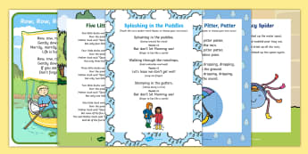 Water Songs and Rhymes Resource Pack - EYFS Water, water cycle, rain, rivers, sea, oceans, singing, song time, vapor, evaporation, condensa