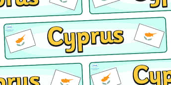 Cyprus Display Banner - Cyprus, Olympics, Olympic Games, sports, Olympic, London, 2012, display, banner, sign, poster, activity, Olympic torch, flag, countries, medal, Olympic Rings, mascots, flame, compete, events, tennis, athlete, swimming