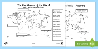 The Five Oceans Labelling Map Activity Sheet English/Romanian - The Arctic, Polar Regions, north pole, south pole, explorers, seas, continents, worksheet, Romanian