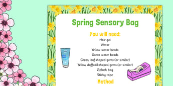 Spring Sensory Bag - spring, green, yellow, eyfs, sensory bag, sensory