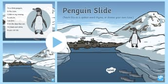 Penguin Slide Rhyme Song PowerPoint - EYFS, Early Years, Polar Regions, arctic, antarctic, polar bears, penguins, snow, songs, singing, so