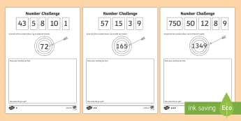 Make the Number Challenge - make the number, numeracy challenge, numeracy challenge worksheet, make the number worksheet, ks2 numeracy worksheet, ks2