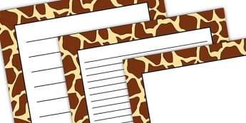 Giraffe Pattern Portrait Page Border - safari, safari page borders, giraffe page borders, giraffe pattern page borders, safari animal pattern page borders