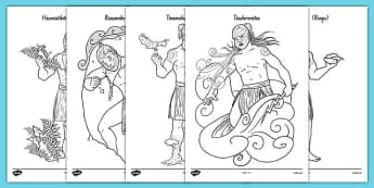 Māori Gods Colouring Sheets - nz, new zealand, Maori Gods, colouring posters