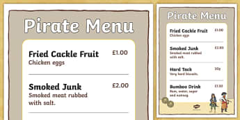 Pirate Menu - pirates, pirate, pirate food menu, pirate food, pirate recipes, pirate role play menu, pirate role play, pirate foods, pirate food menu, food