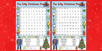 Word Search to Support Teaching on The Jolly Christmas Postman - the jolly christmas postman, word search, the jolly postman word search, christmas word search, keywords