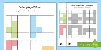 Erstes Spiegelbild Arbeitsblatt: Bilder Muster zum Fortsetzen - Mathematik: Zahlen, Spiegeln, Symmetrie, Kl.1/2, maths, reflections, EYFS/KS1,German