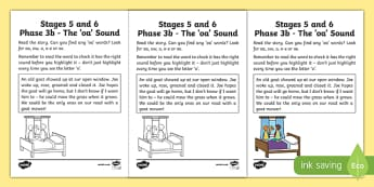 Northern Ireland Linguistic Phonics Stage 5 and 6 Phase 3b, 'oa' sound Activity Sheet, worksheet
