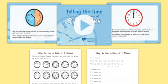 Telling the Time in Blocks of 5 Differentiated Lesson Teaching pack - New Zealand, maths, click, time, minutes, Year 3, telling the time, clocks, o'clock, hours, half pa