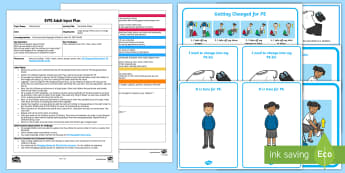 Parachute Chaos Adult Input Plan and Resource Pack - EYFS Uses Everyday Language Related to Time, shape space measure, SSM, getting dressed, pe, changing