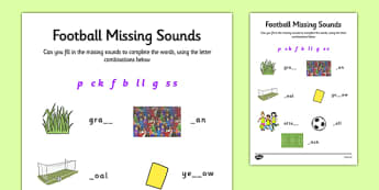 Football Themed Phase 2 Missing Sounds - football, phase 2, sound