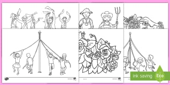 May Day Colouring Pages - maypole colouring, may day colouring, colouring, may day, may, maypole, may pole