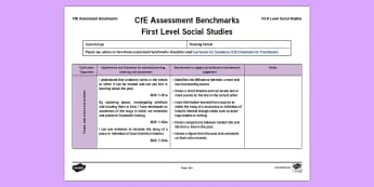 CfE First Level Social Studies Assessment Benchmarks Assessment Tracker - CfE Benchmarks, tracking, assessing, progression, numeracy, literacy, health and wellbeing,Scottish