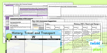 PlanIt - History KS1 - Travel and Transport Unit Assessment Pack - assessment, record, data, baseline, nation, pack, objectives, criteria, success, national, curriculum,