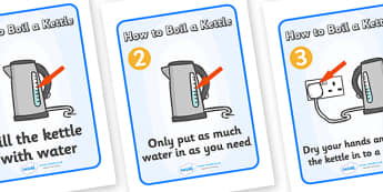 How to Boil a Kettle Display Posters - Kettle, boil, instructions, safety, sequencing, Electric, safe, word mat, mat, writing aid, power, circuit, electricity, battery