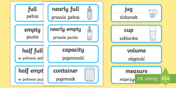 Capacity Word Cards English/Polish - Capacity word cards, word card, cards, capacity, volume, litre, full, empy, half full, measure, jug,