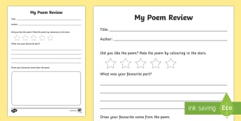 Poem Review Writing Frames - Book Review Writing Frame - book review, book review template, my book review, book report,  book re